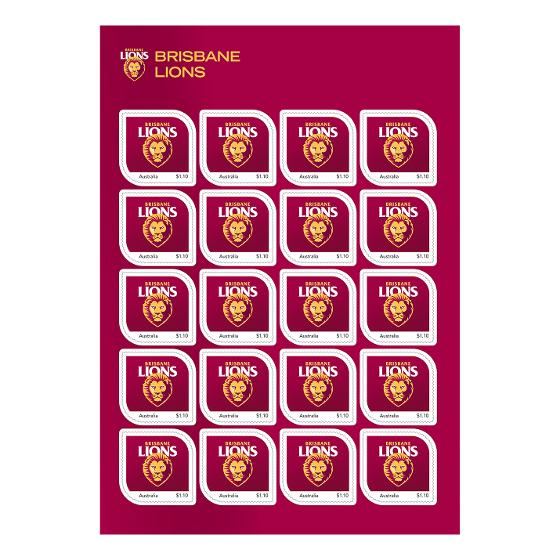 AFL 2020 Brisbane Lions stamp pack product photo Internal 2 DETAILS