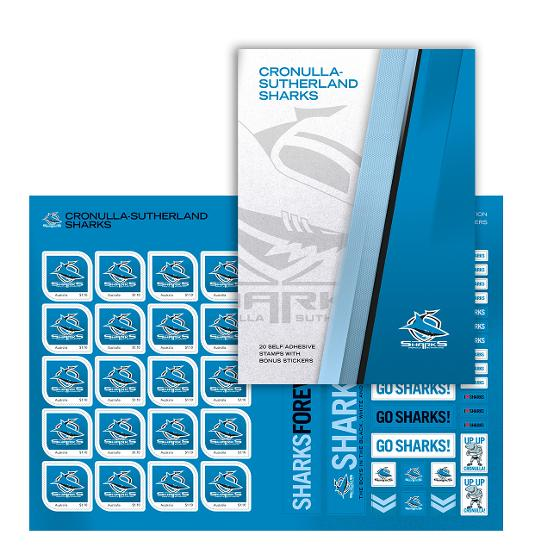 NRL 2020 Cronulla-Sutherland Sharks stamp pack product photo Internal 1 DETAILS