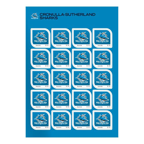 NRL 2020 Cronulla-Sutherland Sharks stamp pack product photo Internal 2 DETAILS