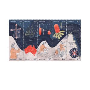 Set of Navigating History: Endeavour Voyage 250 Years gummed stamps product photo