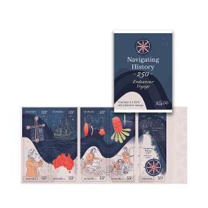 Booklet of 5 x Navigating History: Endeavour Voyage 250 Years stamps product photo