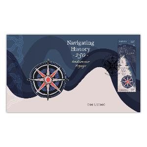 Navigating History: Endeavour Voyage 250 Years stamp and medallion cover product photo