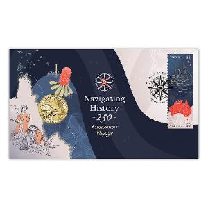 Navigating History: Endeavour Voyage 250 Years postal numismatic cover product photo