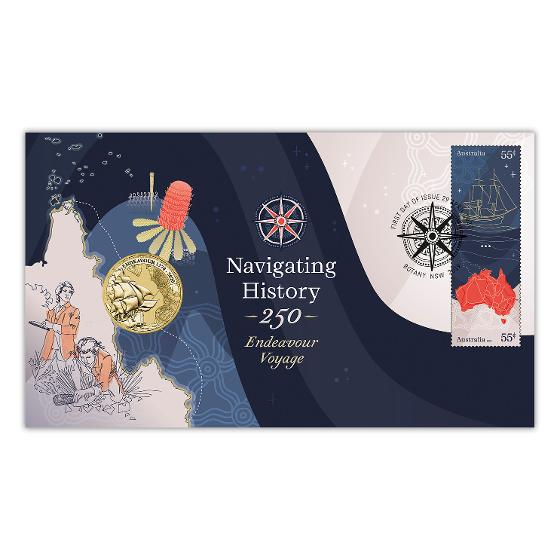 Navigating History: Endeavour Voyage 250 Years postal numismatic cover product photo Internal 1 DETAILS