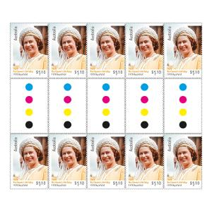 Gutter strip 10 x $1.10 The Queen's Birthday 2020 stamps product photo