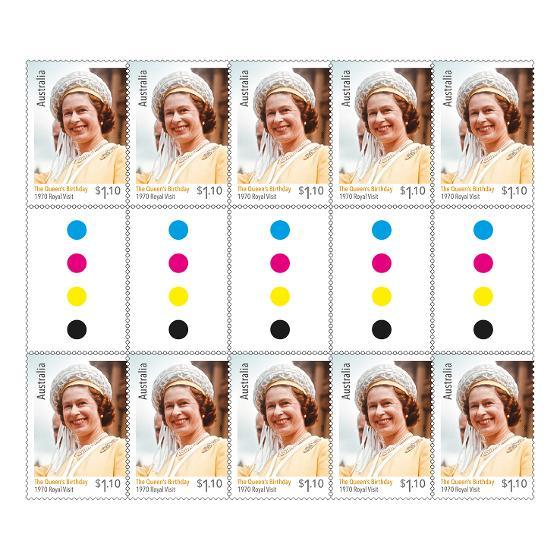 Gutter strip 10 x $1.10 The Queen's Birthday 2020 stamps product photo Internal 1 DETAILS