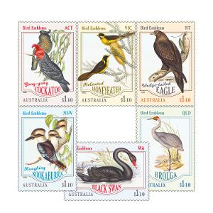 Set of Bird Emblems gummed stamps product photo