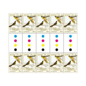 Gutter strip of 10 x $1.10 Helmeted Honeyeater stamps product photo