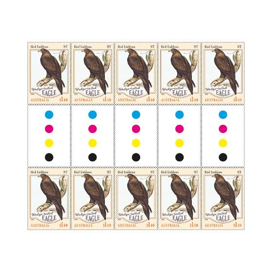 Gutter strip of 10 x $1.10 Wedge-tailed Eagle stamps product photo Internal 1 DETAILS