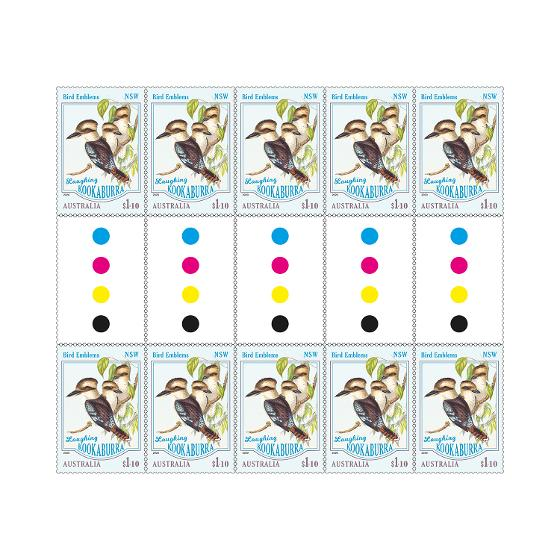 Gutter strip of 10 x $1.10 Laughing Kookaburra stamps product photo Internal 1 DETAILS