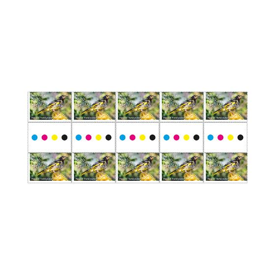 Gutter strip of 10 x $1.10 Regent Honeyeater stamps product photo Internal 1 DETAILS