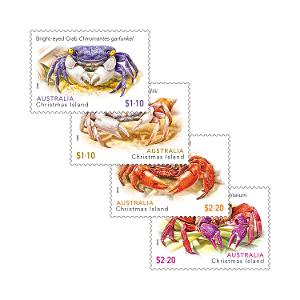 Set of Christmas Island Crabs gummed stamps product photo