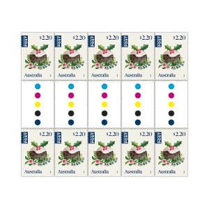 Gutter strip of 10 x $2.20 International Christmas rate stamps (Secular) product photo