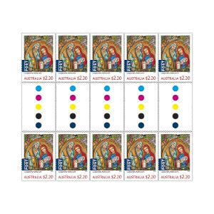 Gutter strip of 10 x $2.20 International Christmas rate stamps (Religious) product photo