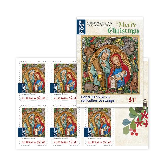 Religious Christmas Stamps 2020 Sheetlet of 5 x $2.20 International Christmas rate stamps