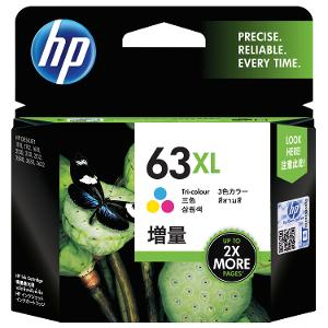 HP 63XL High Yield  Tri-Color Ink Cartridge product photo