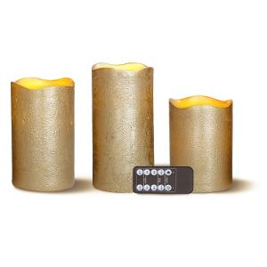 Candle Flameless Metallic Gold 3pk product photo