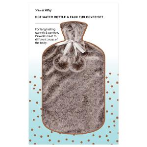 Nice & Nifty - Faux Fur Hot Water Bottle - Grey product photo