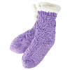 Cable Knit Fur Lined Snuggle Socks - Purple product photo Internal 1 THUMBNAIL