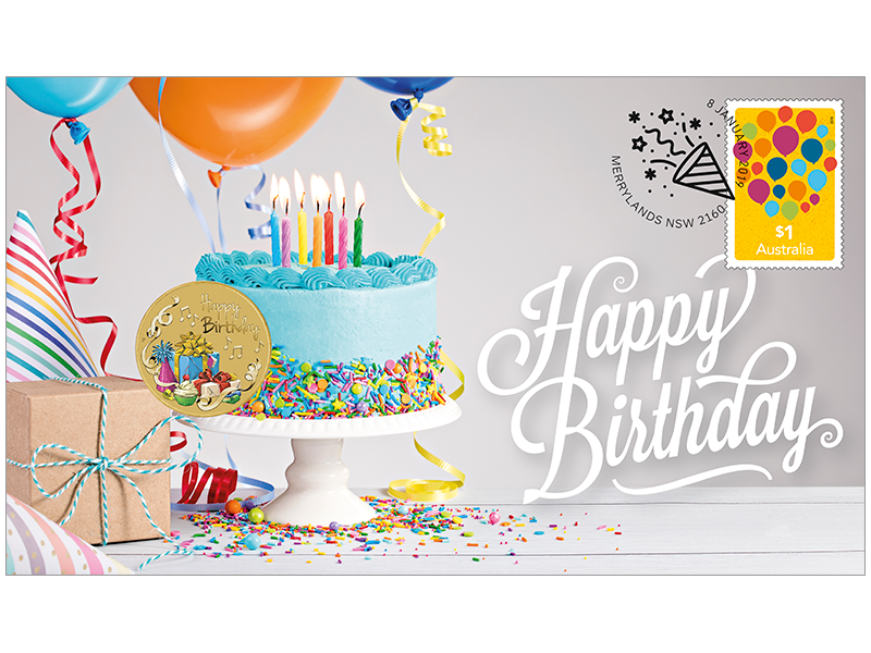 2019 Happy Birthday stamp and coin cover