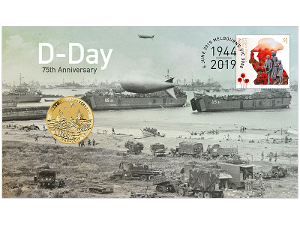 D-Day 75th Anniversary postal numismatic cover product photo