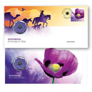 Remembering Animals in War stamp and medallion cover product photo