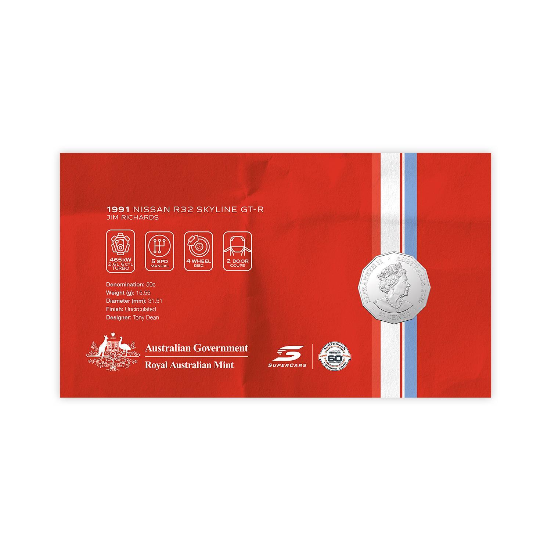 Australia 2020 PNC Supercars Nissan R32 Skyline GT-R Stamp /& 50c Coloured Coin
