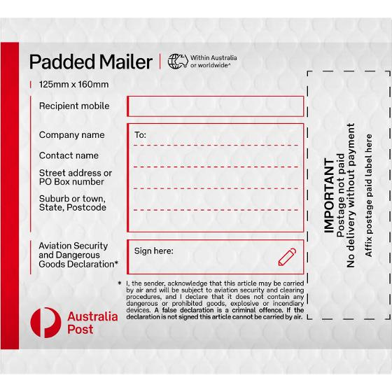 Padded Mailer (PM0) - 125 X 160mm - 100 Pack product photo Internal 1 DETAILS